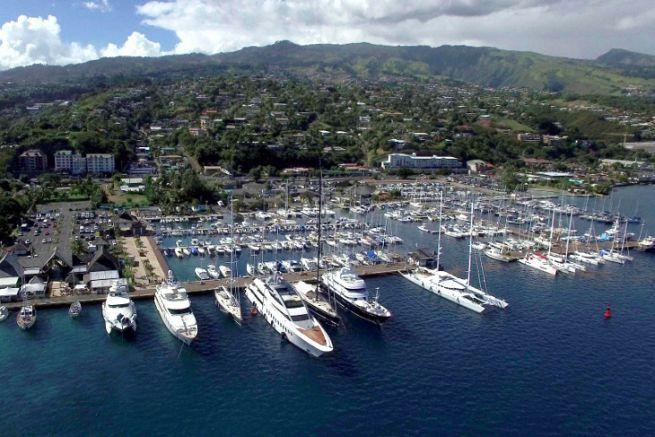 Yachts in Taina Marina in Tahiti