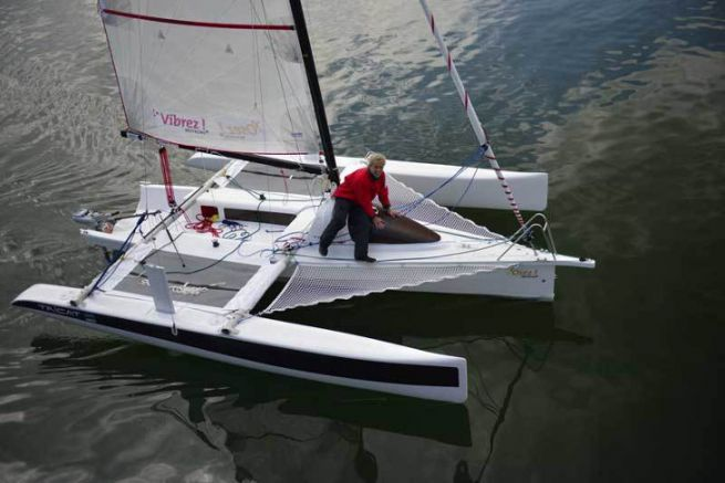Gwalaz, the linen trimaran developed by Kairos and Tricat for Lost in the Swell