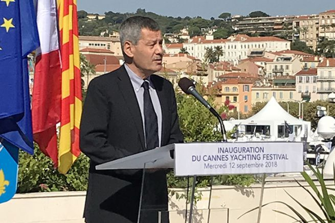 Yves Lyon Caen at the inauguration of the Cannes Yachting Festival
