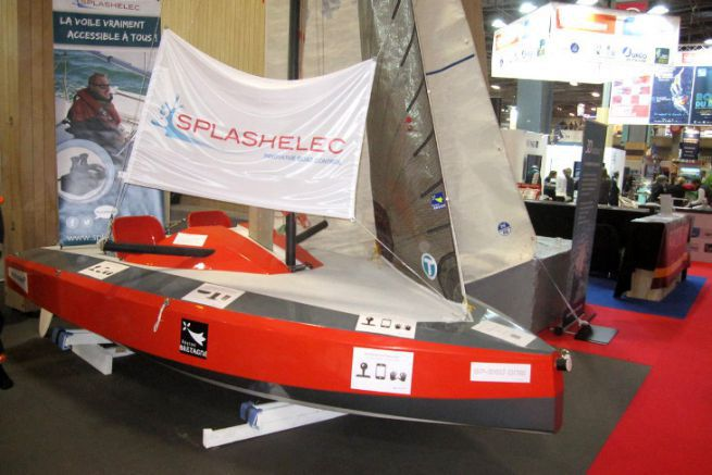The Mini Splash, a sailboat accessible to the disabled, on display at the Nautic Innovation Centre in 2017
