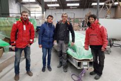 Arrival of the Epoh moulds at the Espace Vag yard (on the right, Yannick D'armancourt creator of the Epoh)