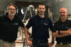 Sam Marsaudon, Damien Cailliau and Frédéric Blandin, the former and new directors of Marsaudon Composites
