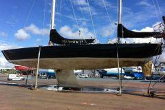 Pen Duick VI painted by the Keroman boatyard