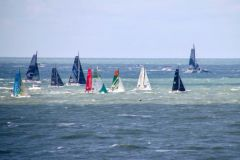 Offshore race start during the Transat Jacques Vabre