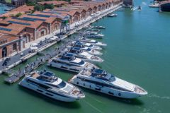 Yachts and pleasure boats in the heart of the Venice Arsenal