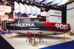 The Arkema Mini 6.50 during its presentation at the JEC World 2016