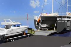 Simulation de chargement de bateaux Bénéteau sur le roulier à voile Neoline