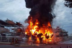 The fire destroyed by boats at the dry port of Batotel in Marseille