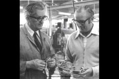 Stan Le Nepveu (left) and Ron Allatt (right) discuss around a stainless steel pulley