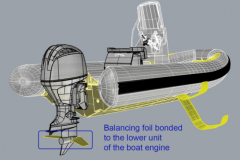 Gluing of foils on outboard motor base for SEAir