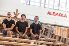 The first 3 naval carpenters graduated by Albaola