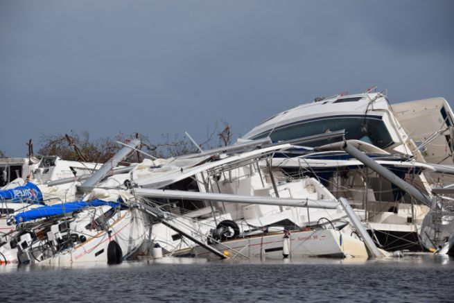 Boats hit by cyclone Irma