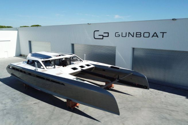 Catamaran Gunboat 68 n°1 in front of the construction site at La Grande Motte