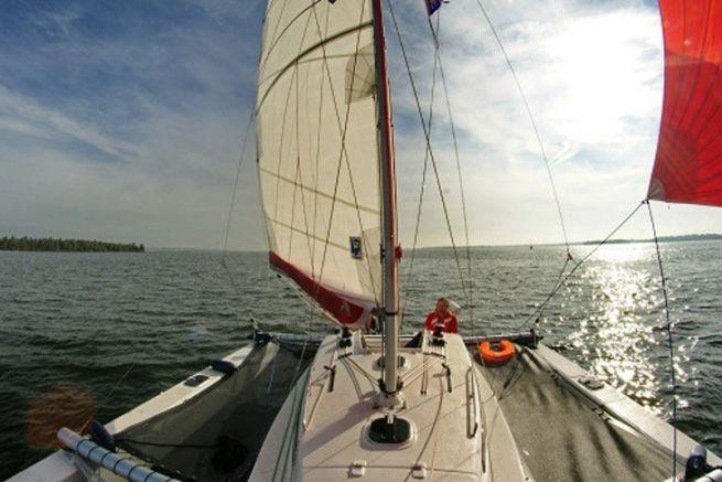 View of the trimaran Astus 24 from Astus Boats
