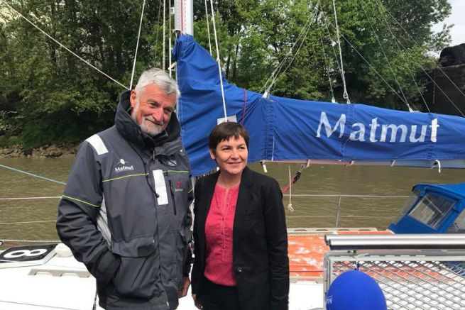 Annick Girardin, the new Minister for the Sea, with Jean-Luc Van den Heede