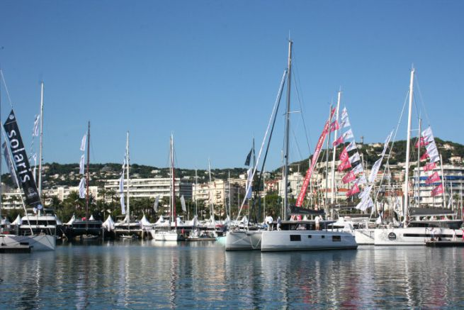 Catamaran at the Cannes Yachting Festival boat show