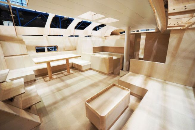 Interior model of a sailboat at the Boatbuilding Technology Center in Nautor's Swan
