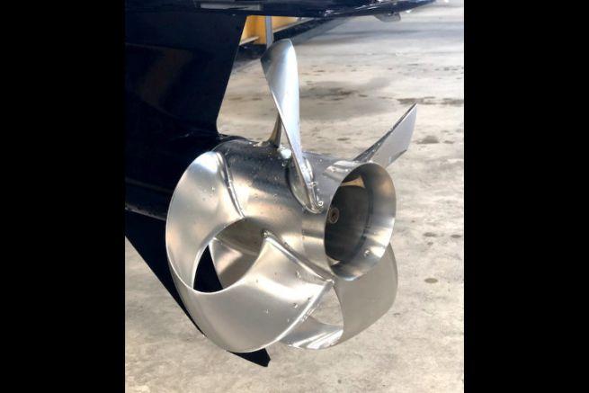 A Sharrow propeller on an outboard motor base