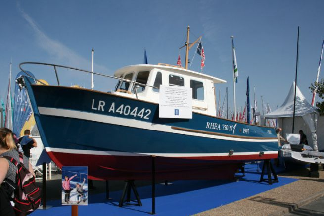 The Rhea 750 N°1, Rhea Marine's first boat, exhibited at the Grand Pavois in La Rochelle