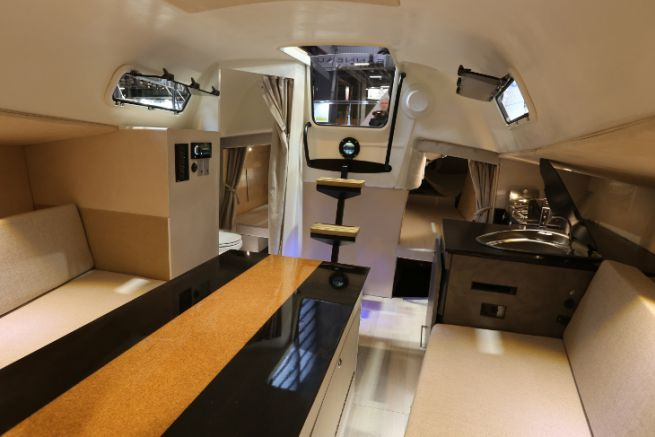 Interior of a sailboat refurbished by Dream Racer Boats