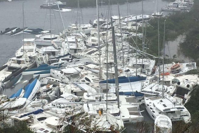 Cruise ships destroyed at Paraquita Bay, British Virgin Islands after Cyclone Irma Passed