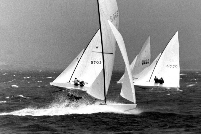 Lowell North, the founder of North Sails, in the middle of the Star regatta