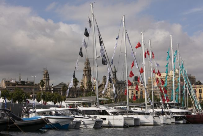 Boats exhibited in Port Vell for the Salon Nautico de Barcelona