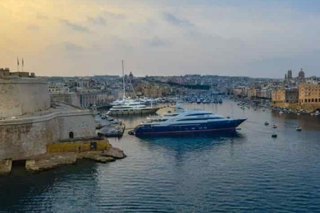 Yachts in the port of Valletta in Malta